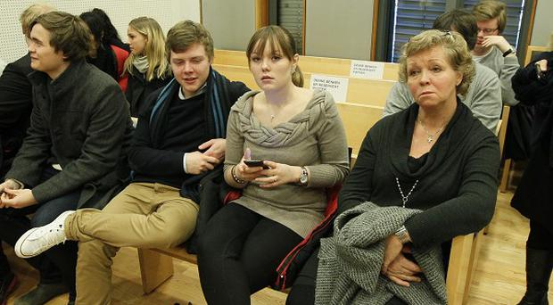 Victims and their lawyers wait in court in Oslo for the first public hearing for Anders Behring Breivik (AP)