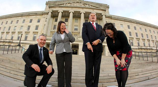 Pictured weighing in at Stormont are MLAs John McCallister, Michelle Gildernew, Jim Wells and Judith Cochrane