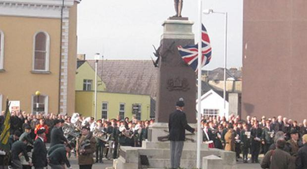 Hundreds of people at the Remembrance Day service at at the cenotaph in Enniskillen
