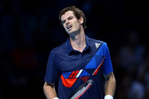 Andy Murray shows his frustration during his defeat at the hands of David Ferrer at the Barclays ATP World Tour Finals yesterday