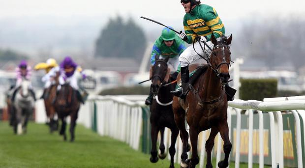 A jubilant Tony McCoy after riding Don't Push It to victory in the Grand National