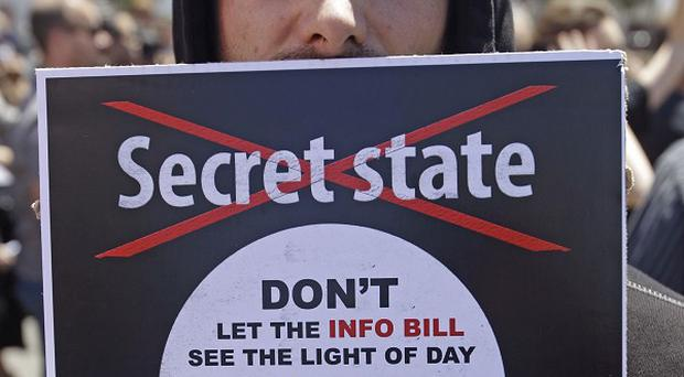 A protester at an anti-secrets bill protest at parliament in Cape Town, South Africa (AP)