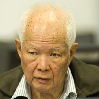 Khieu Samphan, former Khmer Rouge head of state, who is facing a war crimes tribunal in Phnom Penh, Cambodia (AP)