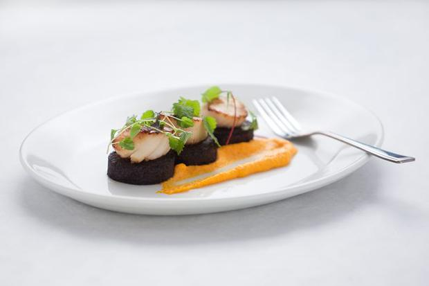 Pan-fried scallops with black pudding & carrot puree
