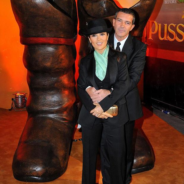 Antonio Banderas and Salma Hayek star alongside each other in Puss In Boots