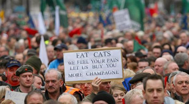 Winter of discontent: workers in Dublin protest against austerity measures