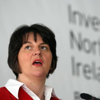 Enterprise Minister Arlene Foster has praised the construction of a wind turbine terminal at Belfast Harbour