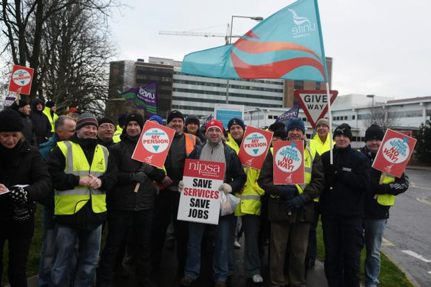 Public sector workers on the picket line at Altnagelvin Hospital on Wednesday morning. Picture Martin McKeown.