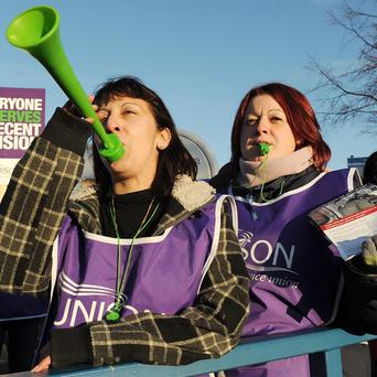 Nadera Bird and Charlotte Caley picket outside the Northern General Hospital, Sheffield