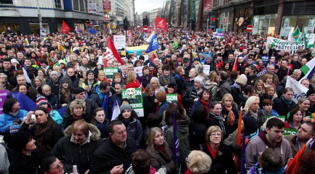 One day strike gets under way in Belfast as striking workers begin the rally as they marched through the City Centre and met at the Belfast City Hall