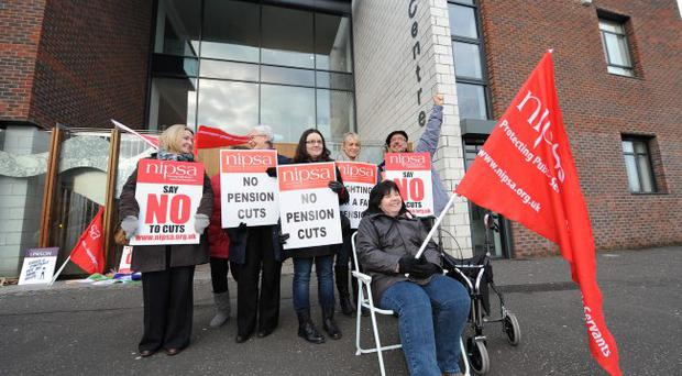 Members of the Nipsa unions join the strikes at Antrim road Belfast