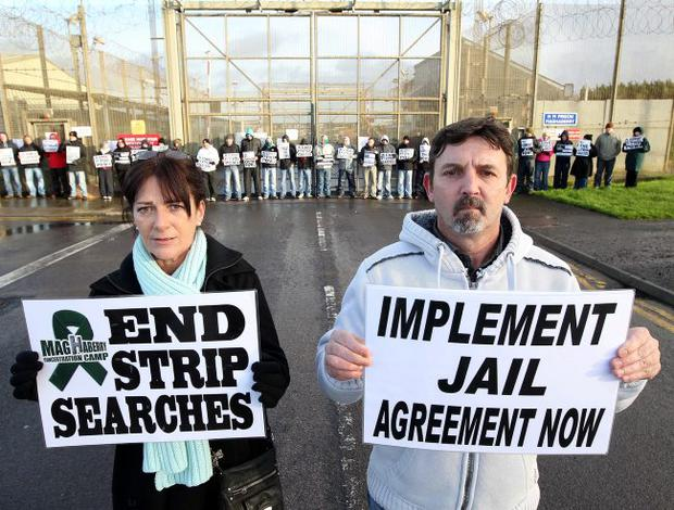 Anger: families and friends of republican prisoners protest at Maghaberry jail