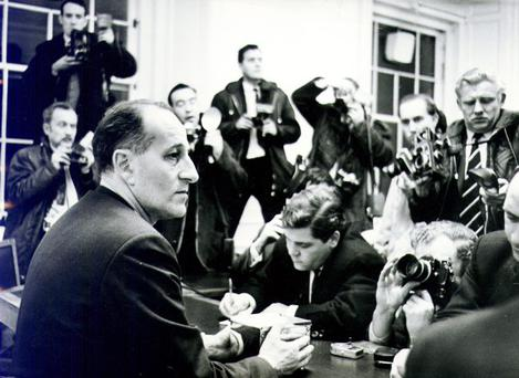 Captain Terence O'Neill:Former Northern Ireland Prime Minister. Talks to the Press after the unionist Parliamentary Party meeting at Stormont. 12/12/1968.