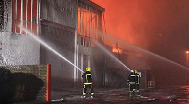 Firefighters tackle a large blaze at an industrial estate in Basingstoke (Hampshire Fire and Rescue Service)