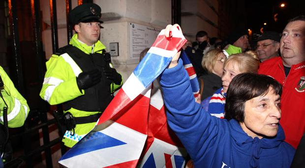Loyalists protest outside Belfast City Hall
