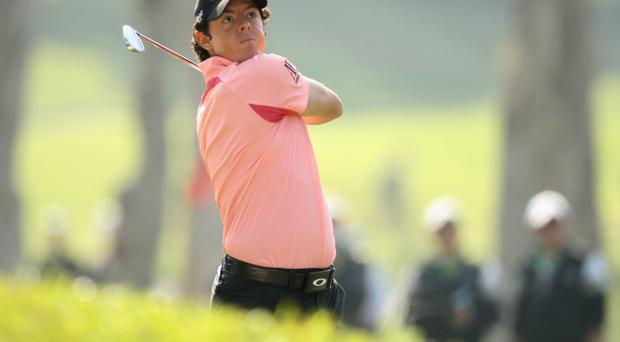 Rory McIlroy in action during round two of the UBS Hong Kong Open at The Hong Kong Golf Club on December 2, 2011