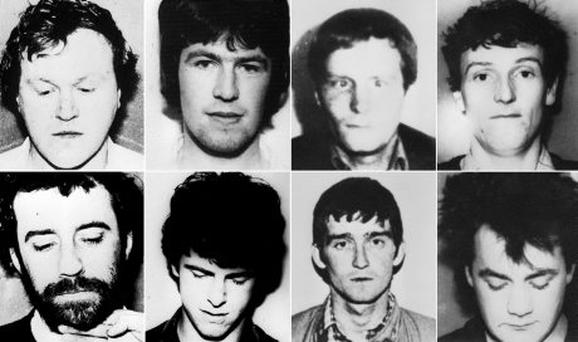 The IRA unit killed in a shoot out with SAS soldiers following the bombing of the Loughgall RUC station, County Armagh, in May 1987, (clockwise from top left) Gerard O'Callaghan, 29, Antony Gormley, 25, James Lynagh, 32, Eugene Kelly, 25, Declan Arthurs,21, Patrick McKerney,32, Seamus Donnelly,21 and Patrick Kelly,25.