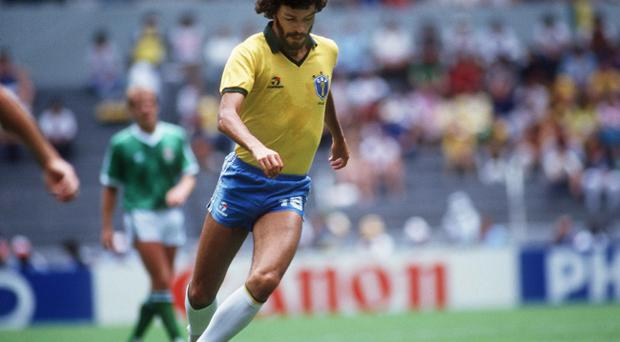 Socrates in action against Northern Ireland at the 1986 World Cup in Mexico