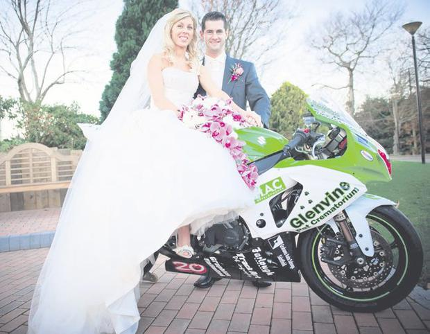 "Lynsey McClune and Denver Robb on their wedding day at Dundrum Castle <p><b>To send us your Wedding Pics <a href=""http://www.belfasttelegraph.co.uk/usersubmission/the-belfast-telegraph-wants-to-hear-from-you-13927437.html"" title=""Click here to send your pics to Belfast Telegraph"">Click here</a> </a></p></b>"