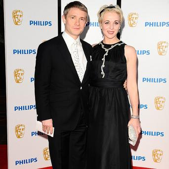 Amanda Abbington has taken her children to visit partner Martin Freeman on The Hobbit set
