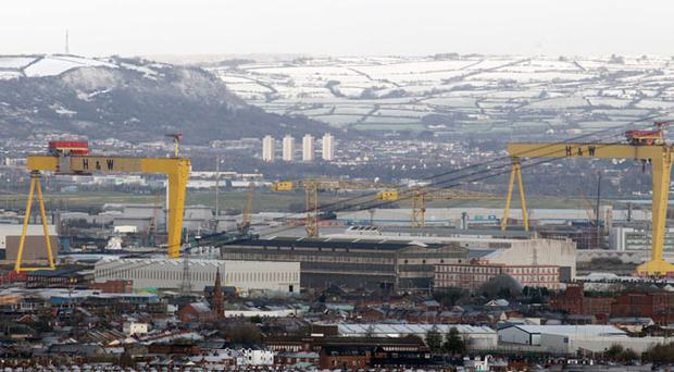 Samson and Goliath gantry cranes in Harland & Wolff shipyard, Belfast as seen from the Castlereagh Hills