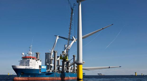 The building of a wind turbine