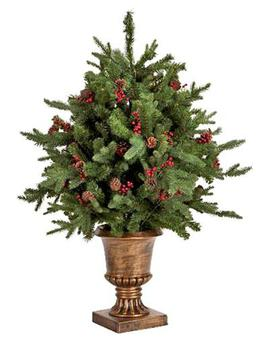 <b>1. Tesco</b> </br> £80, direct.tesco.com </br> The 4ft Delaware Potted Fir Tree is one of the most authentic looking trees we've seen. Decorated with pine cones and berries, it looks great even without decorations.