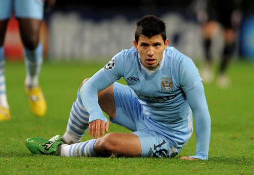 MANCHESTER, ENGLAND - DECEMBER 07: Sergio Aguero of Manchester City looks on during the UEFA Champions League Group A match between Manchester City and FC Bayern Muenchen at the Etihad Stadium on December 7, 2011 in Manchester, England. (Photo by Michael Regan/Getty Images)