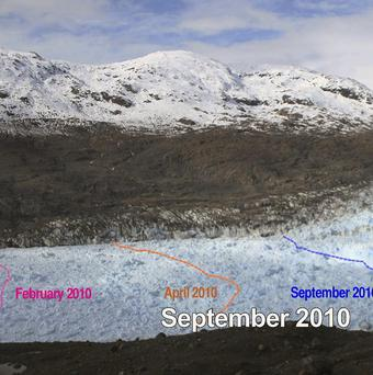 Screengrab showing the retreat of the Jorge Montt glacier in Chile's Patagonia over an eight-month period (AP/Centre of Scientific Studies)