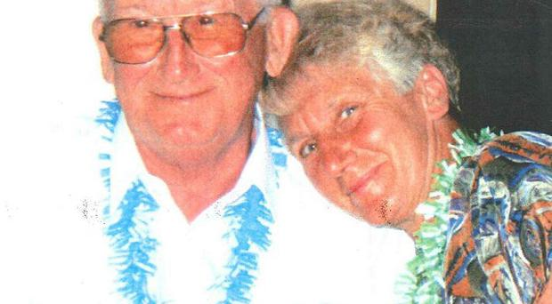Police have arrested a man in connection with the death of Nellie Geraghty, pictured here with her late husband Frank