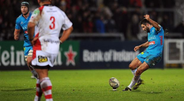 BELFAST, NORTHERN IRELAND - DECEMBER 09: Tito Tebaldi of Aironi scores a penalty during the Heineken Cup match between Ulster Rugby and Aironi Rugby at Ravenhill on December 9, 2011 in Belfast, Northern Ireland. (Photo by Christopher Lee/Getty Images for Aironi)