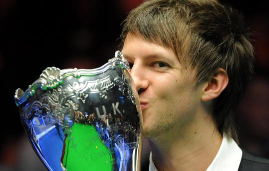 Judd Trump with the trophy after winning the williamhill.com UK Championships at the Barbican Centre, York.