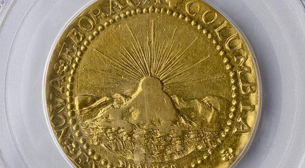 The 1787 gold Brasher doubloon, which sold for 7.4 million dollars at auction in the US (AP)
