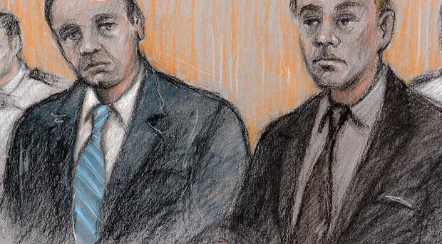 A court artist picture of Gary Dobson (left centre) and David Norris (right centre) at The Old Bailey
