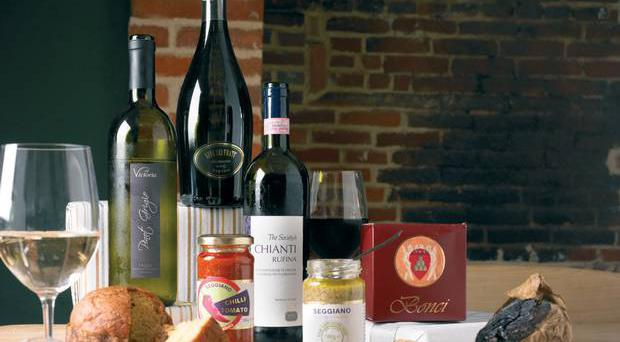 <b>50. Italian Food and Wine Box</b><br /> A delicious hamper of chianti, prosecco and pinot grigio with some pasta sauce and panettone among the other goodies. <br />Where: 01438 741177; www.thewinesociety.com How much: £45