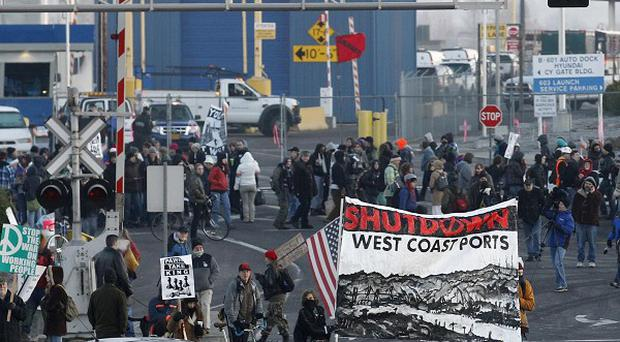 Protesters set up a picket line at a Port of Portland terminal (AP)