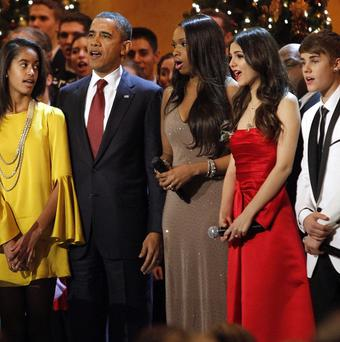 The Obamas join Jennifer Hudson, Victoria Justice, and Justin Bieber at the annual Christmas in Washington Concert