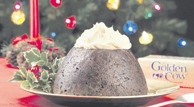 Home-made Christmas pudding with whipped Irish cream butter