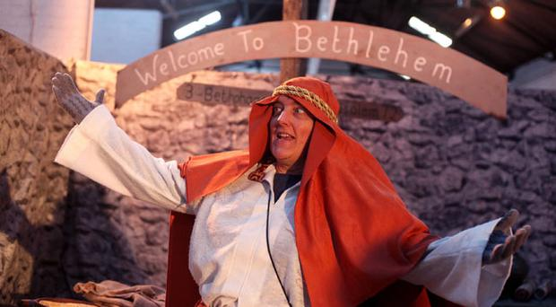15.12.11. PICTURE BY DAVID FITZGERALDThe Bethlehem Village at the King's Hall Belfast which opened yesterday. Schoolkids visited the Village which is educational in Christian Religion. May Green welcoming kids to Bethlehem