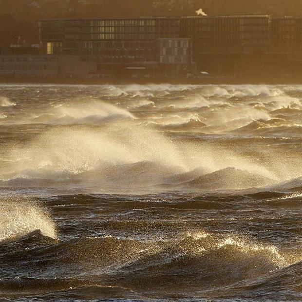 Waves in Dublin Bay as high winds swept across the country