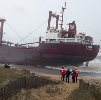 The cargo ship TK Bremen was stranded on the beach at Kerminihy near Erdeven, France (AP)