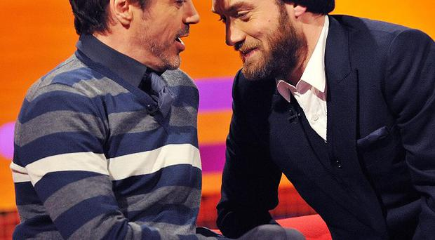 Robert Downey Jr and Jude Law appeared to have fun filming The Graham Norton Show