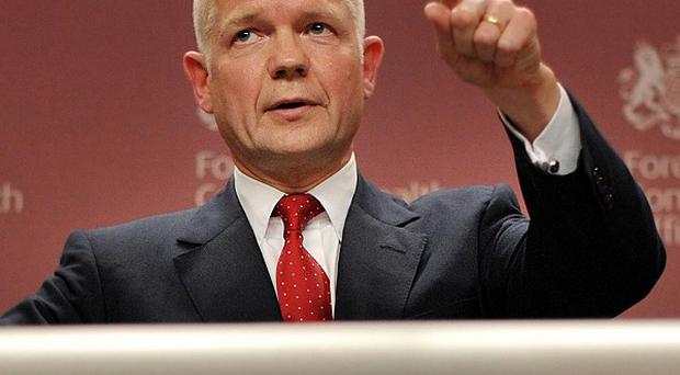 William Hague said the UK is seeking EU action to pass the regulation required to release assets frozen in Britain