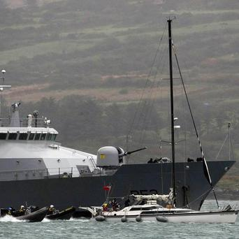 The LE Niamh has been sent out to monitor developments after a tanker was re-routed to Belfast