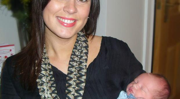 Lisa Cooper and baby Harry.