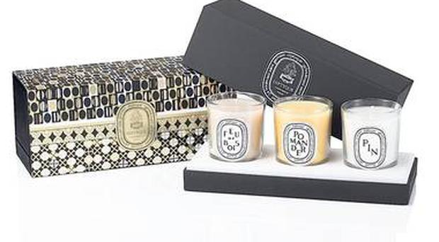 <b>1. Winter Coffret</b> £60, Diptyque, diptyqueparis.com A mini candle set from Diptyque that's sure to muster up a festive aroma. Fresh pine, spicy pomander and warm wood fire are the scents included in this limited-edition set.