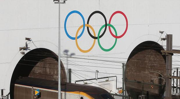 The London 2012 Olympic Rings on the Eurotunnel entrance in Calais, France (Locog/PA)