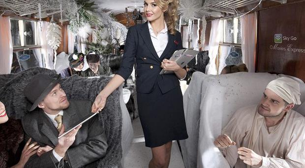 Tamsin Egerton unveils the Sky Go Movies Express