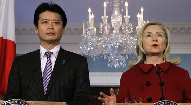 US Secretary of State Hillary Clinton speaks during a meeting with Japanese foreign minister Koichiro Gemba (AP)