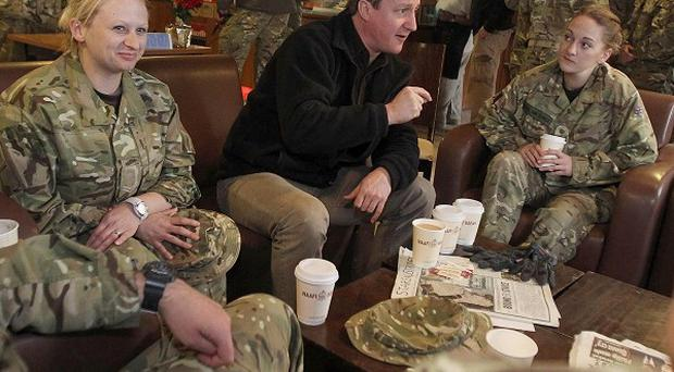 The PM chats to soldiers at Kandahar airfield during his pre-Christmas visit